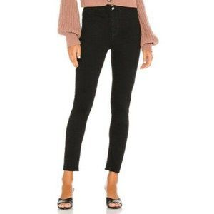 Free People Miles Away Black Raw Hem Skinny Jeans